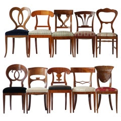 Biedermeier Eclectic Set Unique Set of 10 Dining Chairs Each in Different Design