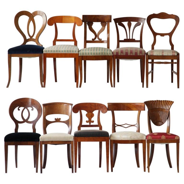 Biedermeier dining chairs, mid-19th century, offered by Silvio Piattelli Sas