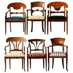 Biedermeier Eclectic Set, Unique Set of 6 Armchairs Each in Different Design