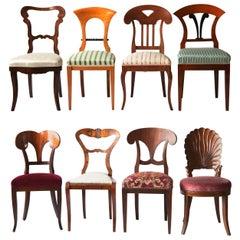 Biedermeier Eclectic Set, Unique Set of 8 Dining Chairs Each in Different Design