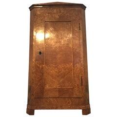 Biedermeier Elm Corner Cupboard, 1830