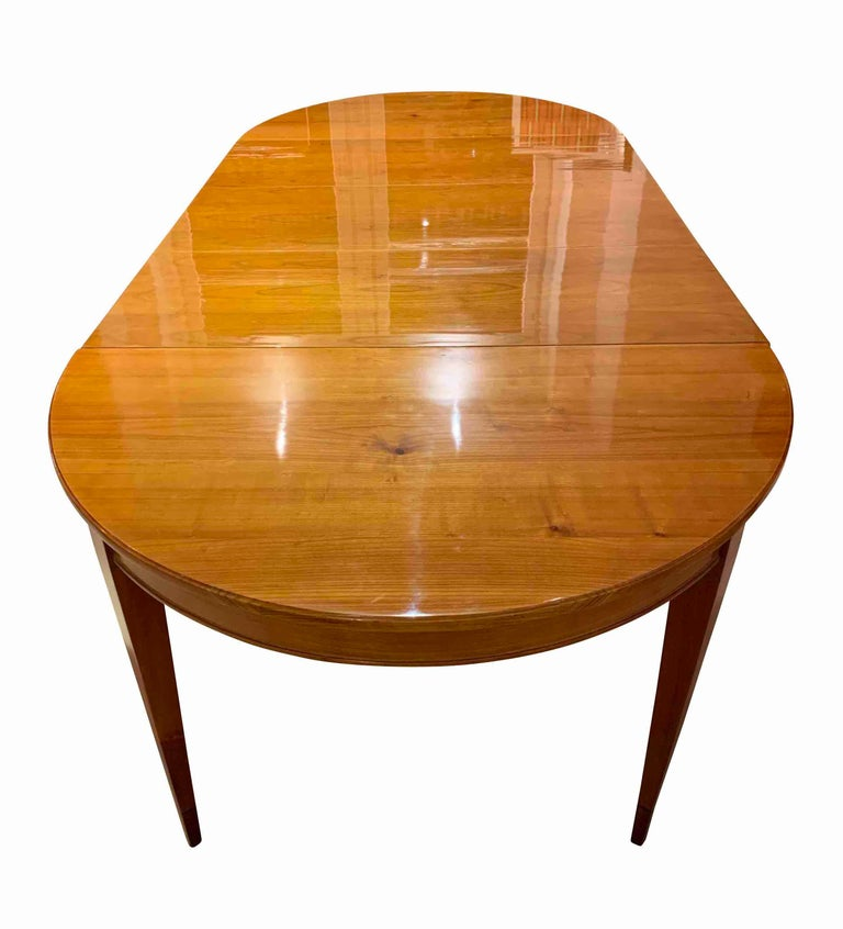 Polished Biedermeier Expandable Table, Cherrywood, Southwest Germany, 19th Century For Sale