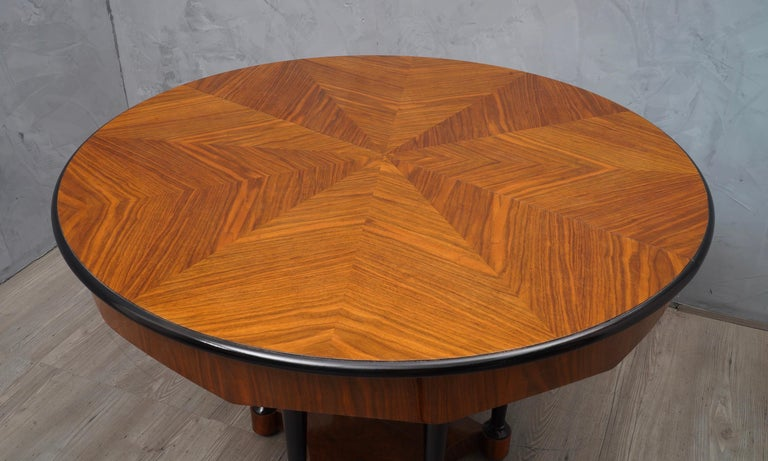 Austrian Biedermeier Round Walnut Wood Extendable Table, 1890 For Sale
