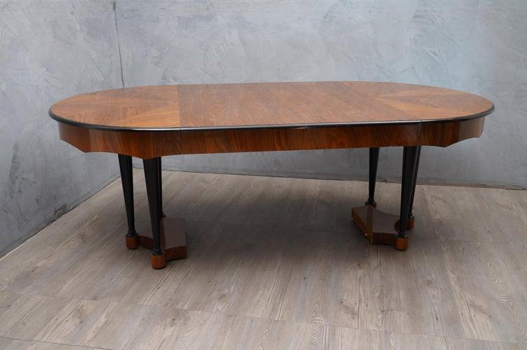 Late 20th Century Biedermeier Round Walnut Wood Extendable Table, 1890 For Sale
