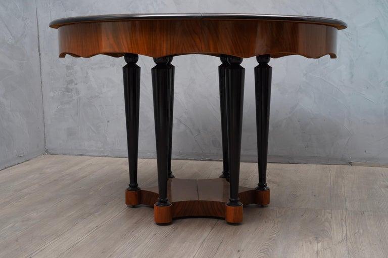 Biedermeier Round Walnut Wood Extendable Table, 1890 For Sale 4