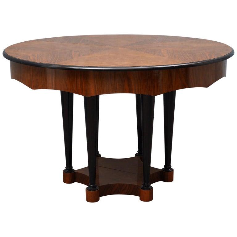 Biedermeier Round Walnut Wood Extendable Table, 1890 For Sale