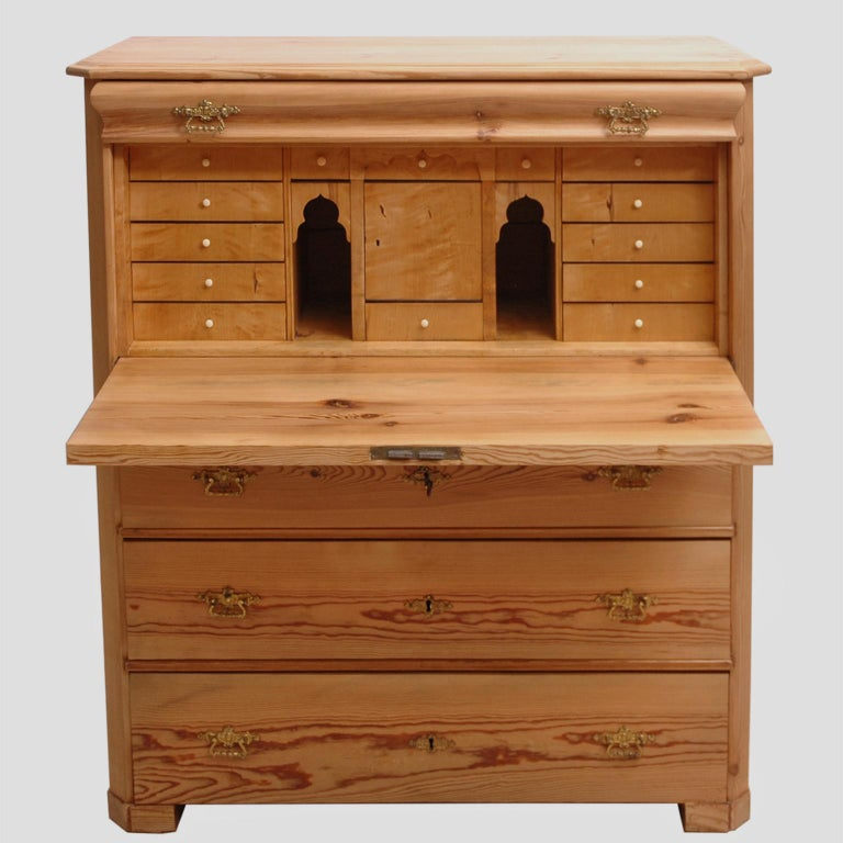 Biedermeier North German Fall-Front Secretary in Pine and Birch, circa 1850 For Sale