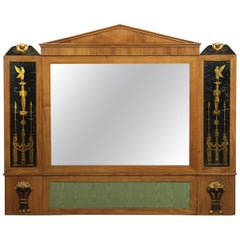 Biedermeier Fruitwood Antique Pier Mirror w/ Egyptian Eglomisé, Austria, c. 1810