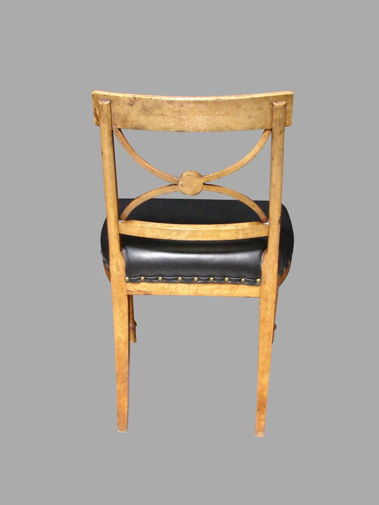 Austrian Biedermeier Fruitwood Side Chair with Ebonized Back and Black Leather Seat For Sale