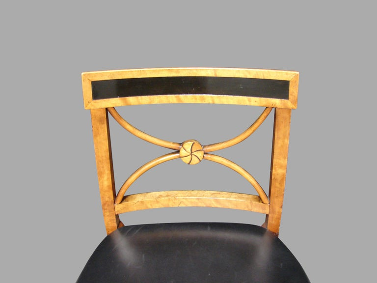 Biedermeier Fruitwood Side Chair with Ebonized Back and Black Leather Seat In Good Condition For Sale In San Francisco, CA