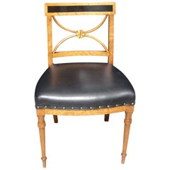 Biedermeier Fruitwood Side Chair with Ebonized Back and Black Leather Seat