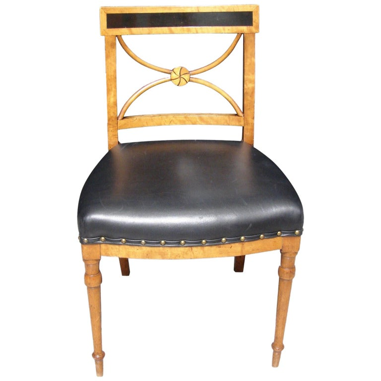 Biedermeier Fruitwood Side Chair with Ebonized Back and Black Leather Seat For Sale