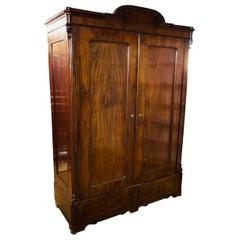 Biedermeier Hall Cabinet/ Wardrobe Around 1860 Mahogany