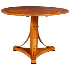 Biedermeier Inlaid Fruitwood Center Table