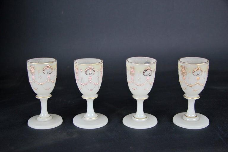 Biedermeier Liquor Set Opaline Glass 19th Century, Austria, circa 1850 For Sale 5