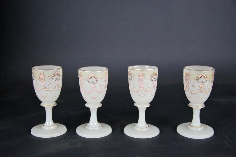 Biedermeier Liquor Set Opaline Glass 19th Century, Austria, circa 1850 For Sale 6