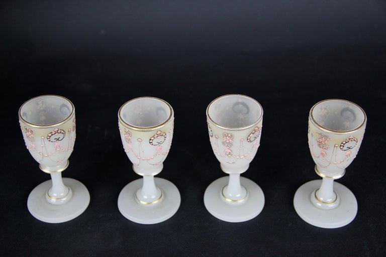 Biedermeier Liquor Set Opaline Glass 19th Century, Austria, circa 1850 For Sale 7