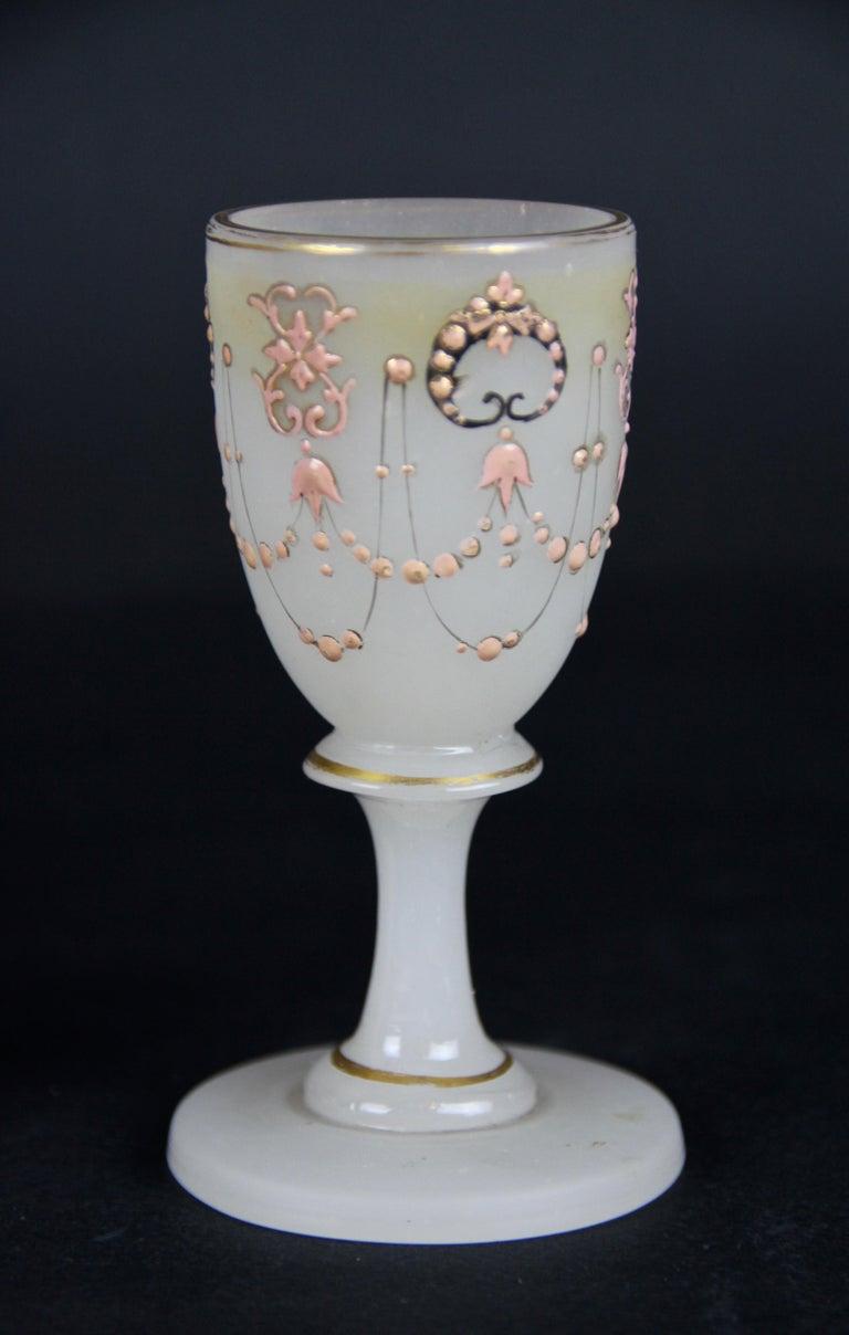 Biedermeier Liquor Set Opaline Glass 19th Century, Austria, circa 1850 For Sale 8