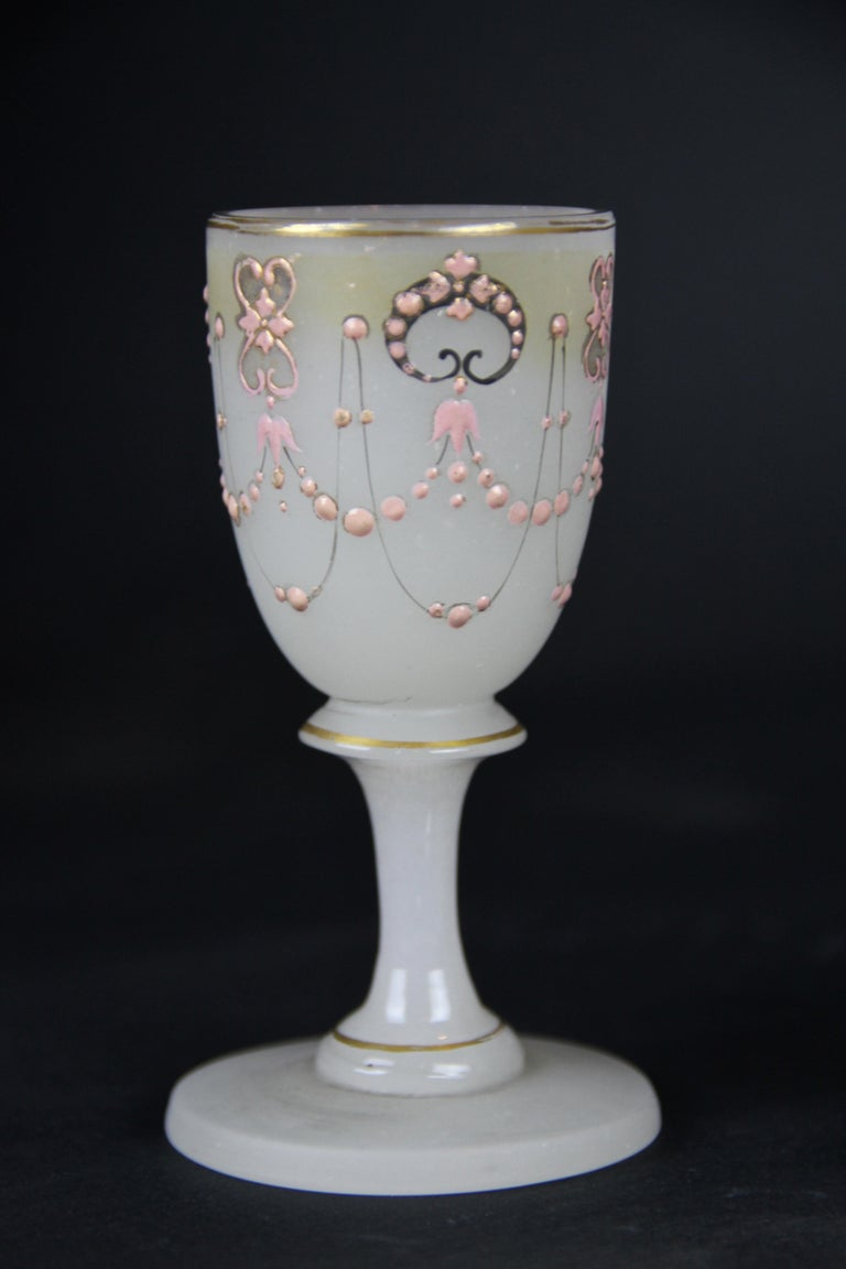 Biedermeier Liquor Set Opaline Glass 19th Century, Austria, circa 1850 For Sale 11