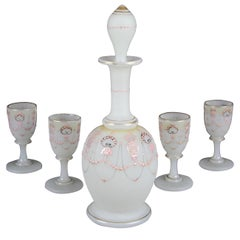 Biedermeier Liquor Set Opaline Glass 19th Century, Austria, circa 1850