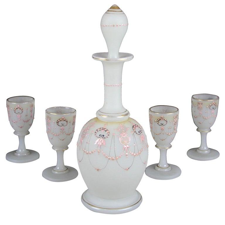 Biedermeier Liquor Set Opaline Glass 19th Century, Austria, circa 1850 For Sale