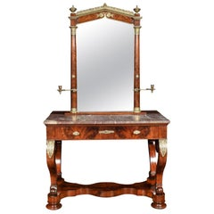 Biedermeier Mahogany and Marble Topped Dressing Table