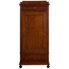 Biedermeier Mahogany Antique Armoire Wardrobe Cabinet, circa 1830-1850