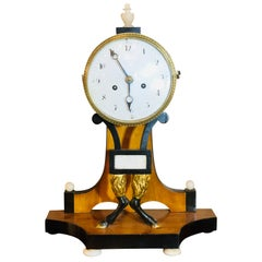 Biedermeier Mantle Clock with Ebonized Details and Hoof Legs Silk Suspension