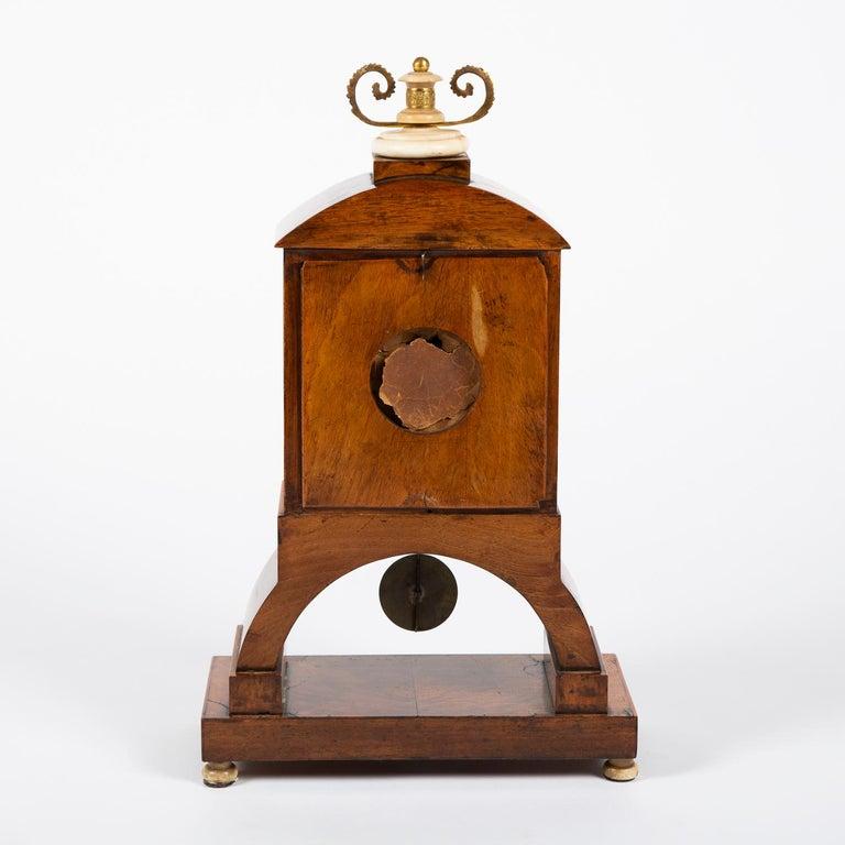 Biedermeier Mantle Clock Walnut with Ormolu Mounts, circa 1820 For Sale 6