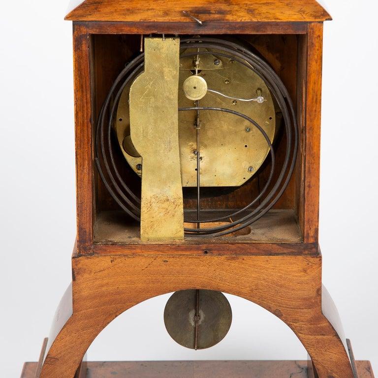 Biedermeier Mantle Clock Walnut with Ormolu Mounts, circa 1820 For Sale 8