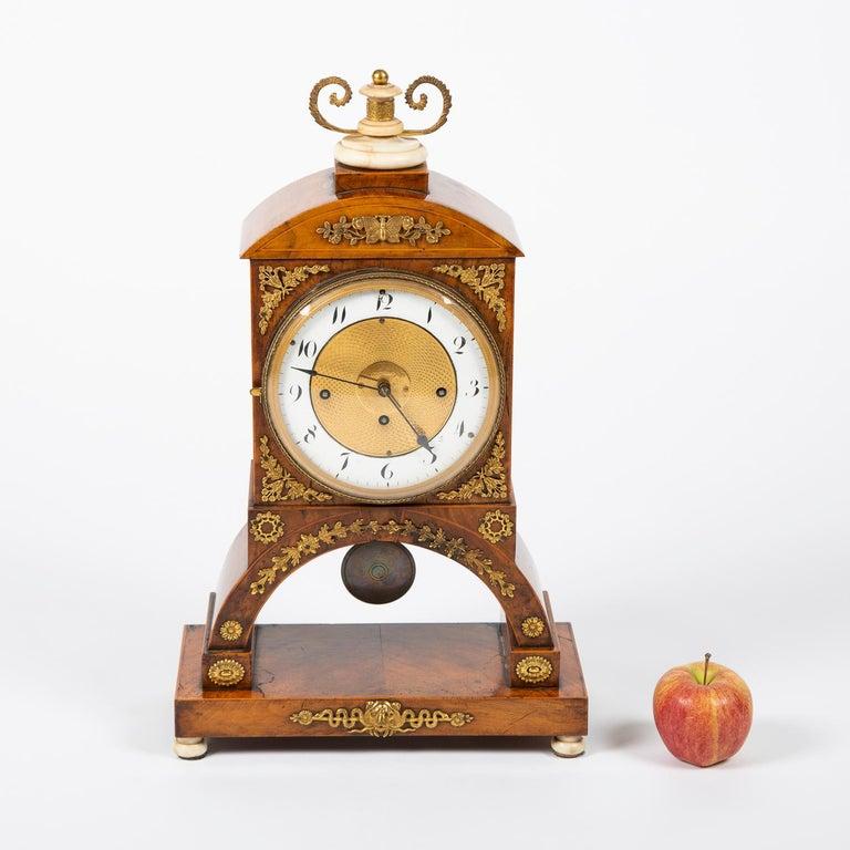 Biedermeier Mantle Clock Walnut with Ormolu Mounts, circa 1820 For Sale 11