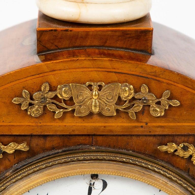 Biedermeier Mantle Clock Walnut with Ormolu Mounts, circa 1820 For Sale 1