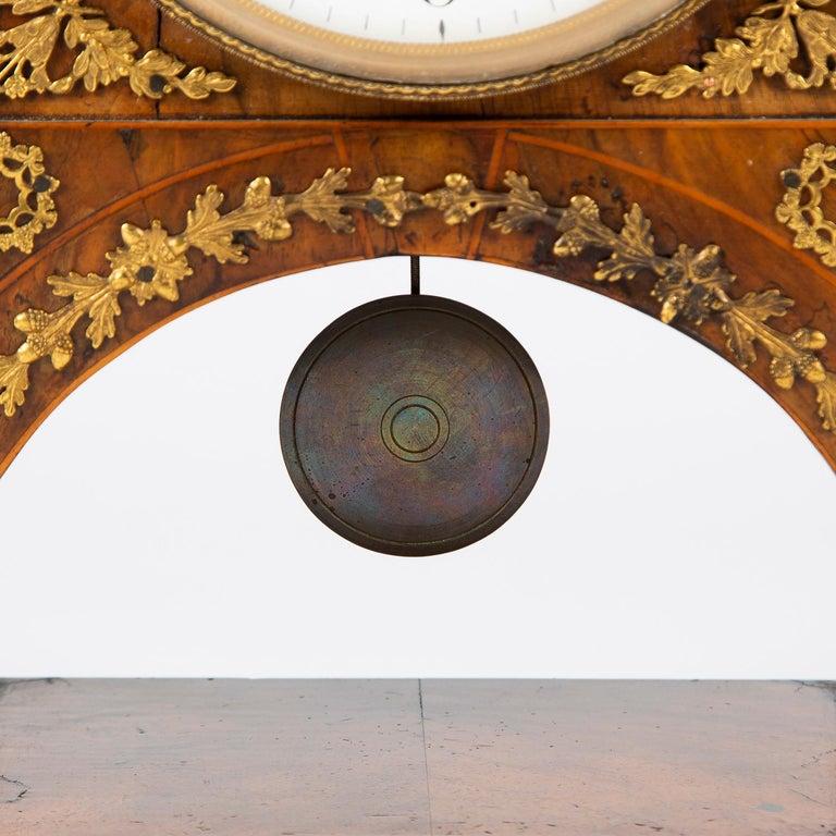 Biedermeier Mantle Clock Walnut with Ormolu Mounts, circa 1820 For Sale 4