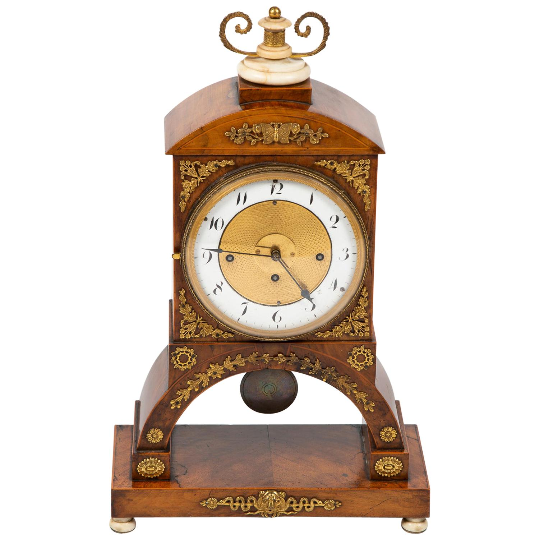 Biedermeier Mantle Clock Walnut with Ormolu Mounts, circa 1820