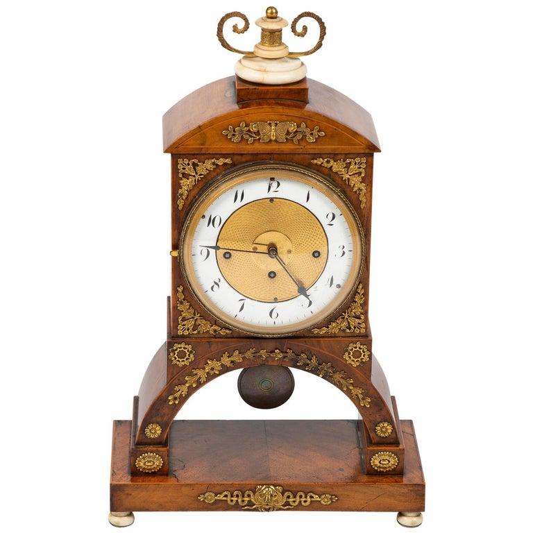 Biedermeier Mantle Clock Walnut with Ormolu Mounts, circa 1820 For Sale