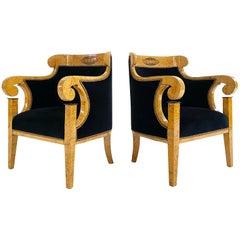 Biedermeier Marquetry Armchairs in Rose Uniacke Velvet, Pair