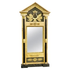 Biedermeier Mirror, Birch, Blackened Wood And Golden Stucco, circa 1920