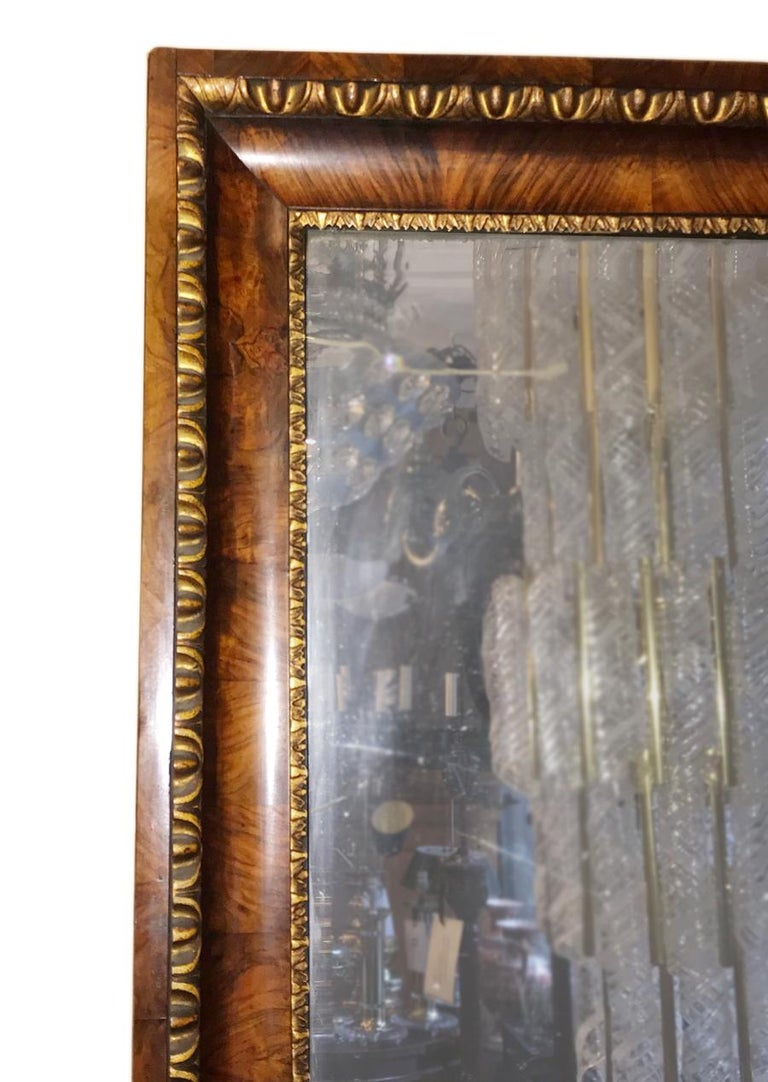 Carved Biedermeier Mirror with Gilt Details on Frame For Sale