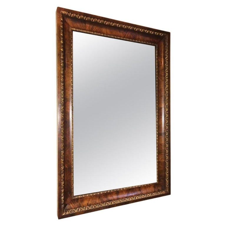 Biedermeier Mirror with Gilt Details on Frame For Sale
