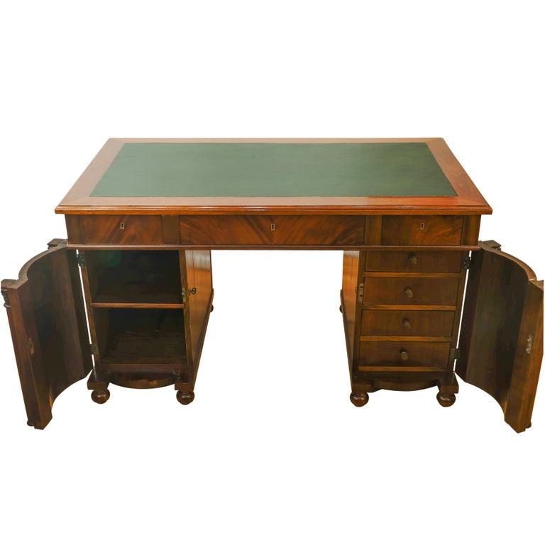 Mahogany Biedermeier Office Desk, Sweden, 1880 For Sale