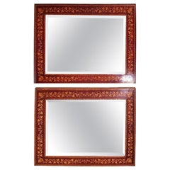 Biedermeier Pair of Italian Mahogany Mirrors Inlaid with Ivy Decoration