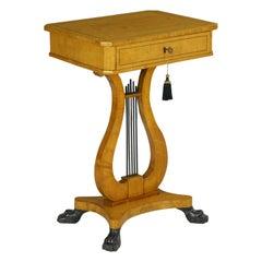 Biedermeier Parcel Ebonized Birch Accent Side Table, 19th Century