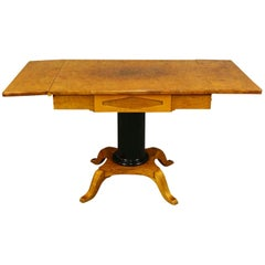 Biedermeier Pedestal Drop-leaf Table Empire Swedish Golden Birch Ormolu Style