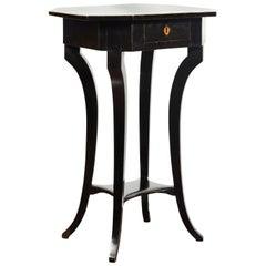 Biedermeier Period 1820s Octagonal Top Ebonized Side Table with Single Drawer