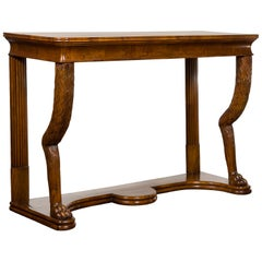 Biedermeier Period 1840s Walnut Console Table with Fur Style Legs and Paw Feet