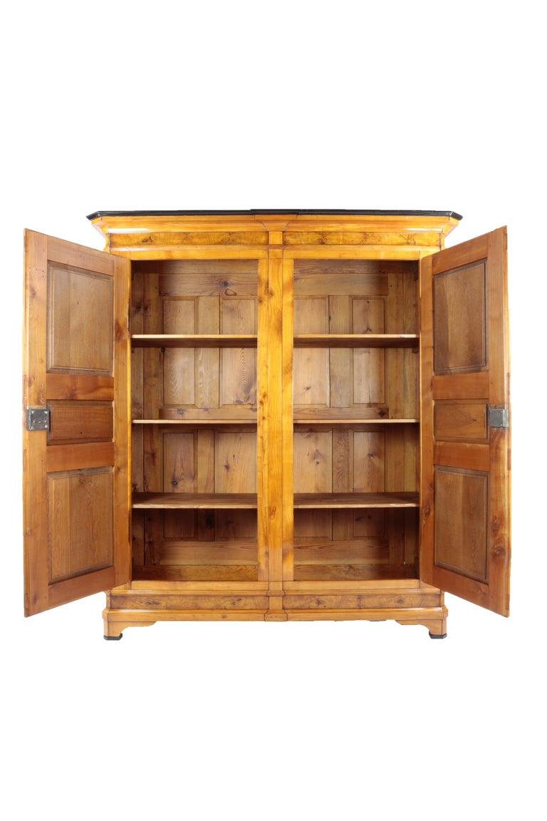 Biedermeier Period Cupboard Cabinet, Nutwood and Cherrywood, circa 1830, Brown For Sale 3