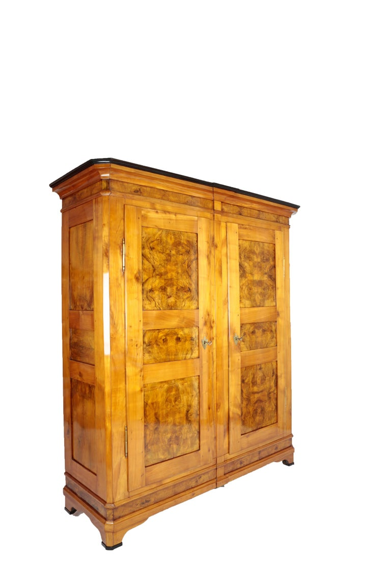 Biedermeier Period Cupboard Cabinet, Nutwood and Cherrywood, circa 1830, Brown In Good Condition For Sale In Muenster, NRW