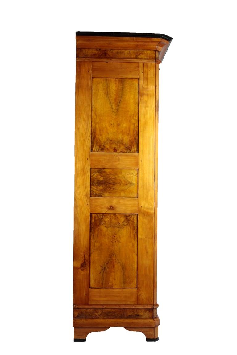 Oak Biedermeier Period Cupboard Cabinet, Nutwood and Cherrywood, circa 1830, Brown For Sale