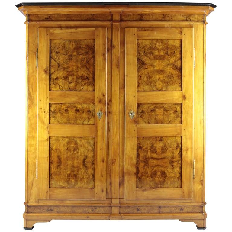 Biedermeier Period Cupboard Cabinet, Nutwood and Cherrywood, circa 1830, Brown For Sale