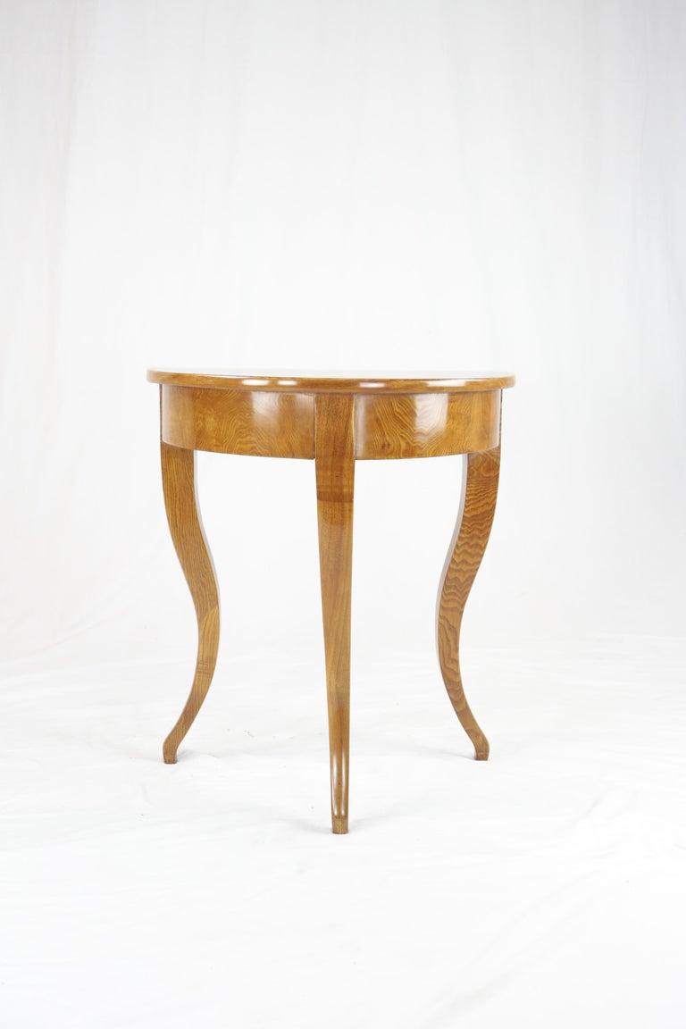 German Biedermeier Period Demilune Console Table, Solid Ash, circa 1830, Shellac Polish For Sale